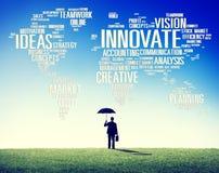 Framsteg för idéer för innovationinspirationkreativitet inför nyheter Concep Arkivfoto