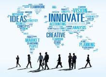 Framsteg för idéer för innovationinspirationkreativitet inför nyheter Concep Royaltyfria Bilder