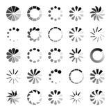 Framstegladdarsymboler Rund fungera som buffert indikering för påfyllningsnurrcirkel som väntar ladda datorwebsitenedladdning stock illustrationer