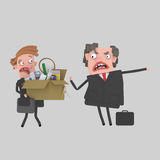 Framstickande som avfyrar anställd stock illustrationer