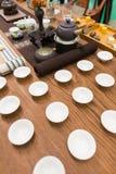 framställning av set tea Arkivfoto