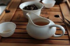 framställning av set tea Royaltyfria Bilder