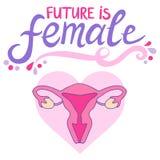 Framtid är den kvinnliga feministiska slogan Royaltyfri Illustrationer