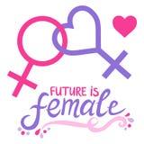 Framtid är kvinnlig Lesbiskt feministiskt symbol Royaltyfri Illustrationer