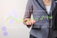 Framtid av den finansiella affärsidéen, affärsman med finanssymboler Arkivbilder