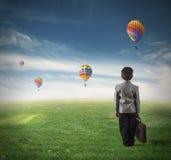 Framtid av en ung pojke Fotografering för Bildbyråer