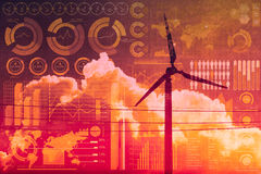 Framtid av makt och teknologi, vindturbin med samkopieringen för affärsblandningmassmedia Fotografering för Bildbyråer