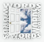 Framtid för öppen dörr för ord väljer ljus högert skriva för språk som är bästa vektor illustrationer