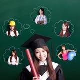 Framtid för doktorandkvinnafunderare royaltyfri fotografi