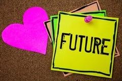 Framtid för ordhandstiltext Affärsidé för tidsperioden som följer händelserna för närvarande ögonblick som ska hända korkbakgrund royaltyfria foton