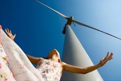 framtid s för clean energi för barn Royaltyfri Bild