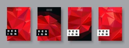 Framtida affischmall för futuristisk design Minsta geometriska modelllutningar Polygonal rastrerad röd planet stock illustrationer