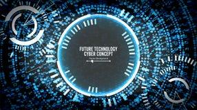 Framtida bakgrund för teknologiCyberbegrepp Abstrakt säkerhetscyberspace Elektroniska data förbinder globalt system royaltyfri illustrationer