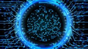 Framtida bakgrund för teknologiCyberbegrepp Abstrakt säkerhetstryck Blått elektroniskt nätverk Design för Digitalt system royaltyfri illustrationer