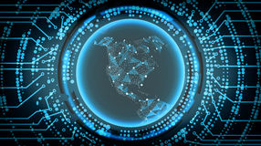 Framtida bakgrund för teknologiCyberbegrepp det Amerika bildspråk planerar nasa-nord också vektor för coreldrawillustration royaltyfri illustrationer