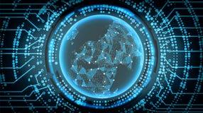 Framtida bakgrund för teknologiCyberbegrepp Europa också vektor för coreldrawillustration royaltyfri illustrationer