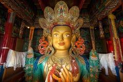 Framtida Buddha eller Maitreya Buddha 28th i den Thiksey Gompa kloster i Ladakh royaltyfria bilder