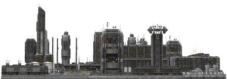 Framtida Cityscape som isoleras på den vita illustrationen 3D Royaltyfri Bild