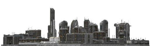 Framtida Cityscape som isoleras på den vita illustrationen 3D Royaltyfri Fotografi