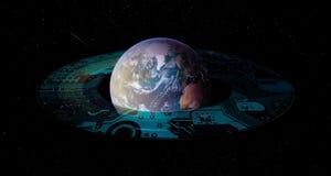 Framtida globalt technoutvecklingsbegrepp arkivbild