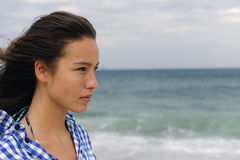 framtida havskvinna för attraktiv facing royaltyfria bilder