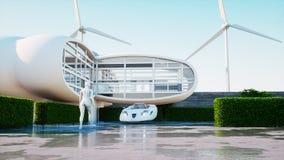 framtida hus Futuristisk flygbil med att gå kvinnan framförande 3d Royaltyfria Bilder