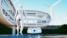 framtida hus Futuristisk flygbil med att gå kvinnan framförande 3d Arkivbilder