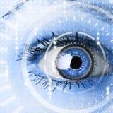 Framtida kvinna med panelen för cyberteknologiöga Royaltyfria Bilder