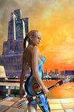 Framtida kvinna och stad Arkivbild