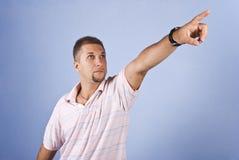 framtida man som pekar till Arkivbild