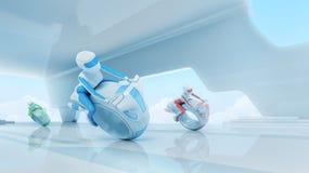 Framtida motobikeryttarelag i högteknologisk inre. Arkivfoton