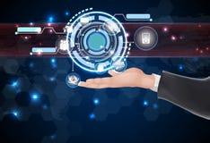 Framtida rengöringsdukteknologi och symboler för affärsman på handen Arkivbild