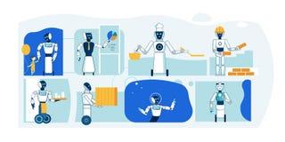 Framtida robotyrke Humanoid plan samling royaltyfri illustrationer