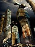 Framtida stad Fotografering för Bildbyråer