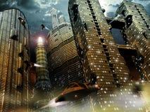 Framtida stad Royaltyfri Bild