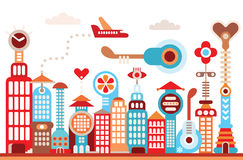Framtida stad Arkivfoton