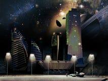 Framtida stad stock illustrationer