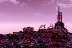 Framtida stad i en fatasy värld vektor illustrationer