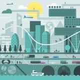 Framtida stad i kalla färger Arkivbilder