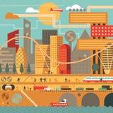 Framtida stad i varma färger Arkivfoto