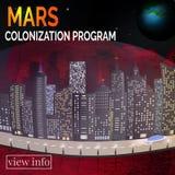 Framtida stad Marsinvånarelandskape Begrepp för infographic Royaltyfria Foton