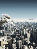 Framtida stad under attack Royaltyfri Foto