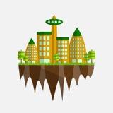 Framtida stadsvektorillustration i plan design Royaltyfri Illustrationer