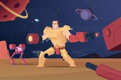 Framtida stridrobotar Fördärvar futuristiska soldater för Cyberkrig på bakgrund för vektorteckentecknade filmen royaltyfri illustrationer
