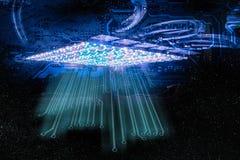 Framtida teknologibegrepp för blå abstrakt cyber stock illustrationer