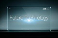 Framtida teknologiformuleringar på den genomskinliga smartphonen Arkivfoton