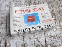 Framtida tidningsaffärsidé: Dig Live In The Past, illustration 3d stock illustrationer