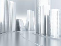 framtida vägvänd för stad Arkivfoton