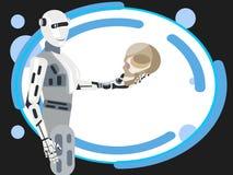 Framtiden av mänskligheten, rymmer roboten den mänskliga skallen I plan vektor för minimalist stiltecknad film royaltyfri illustrationer