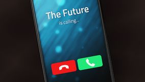 Framtiden kallar på en smart telefon royaltyfri foto